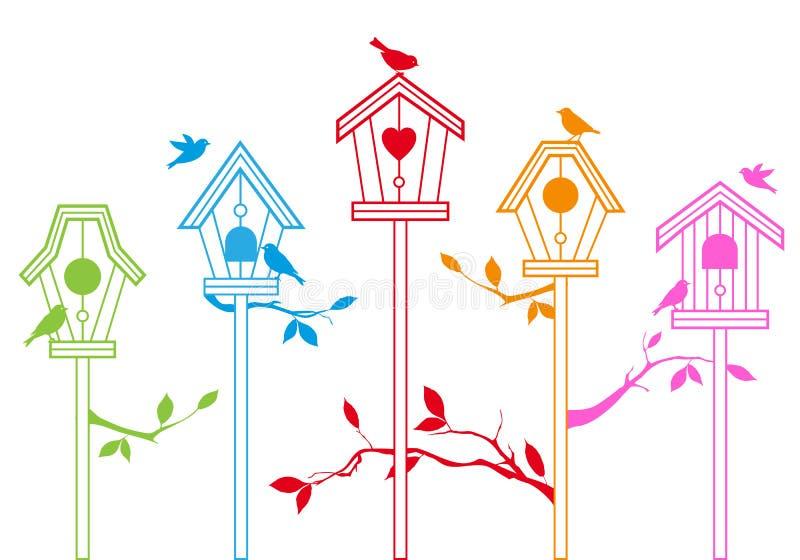 鸟逗人喜爱的房子向量 向量例证