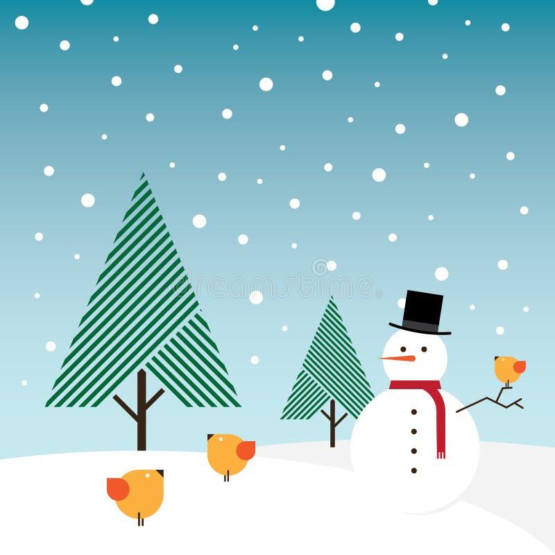 鸟针叶树橙色雪雪人结构树 库存例证