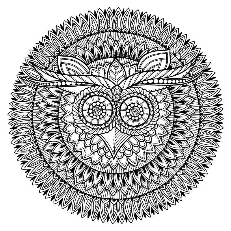 鸟题材 与抽象种族阿兹台克装饰品样式的猫头鹰黑白坛场 库存例证