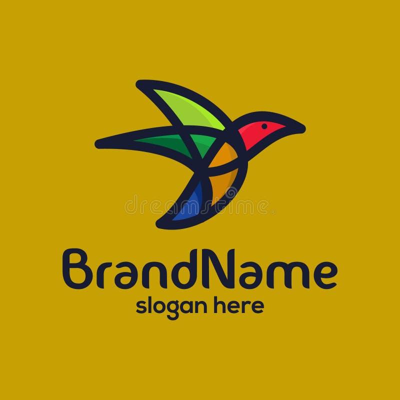 鸟颜色充分和现代商标设计模板 向量例证