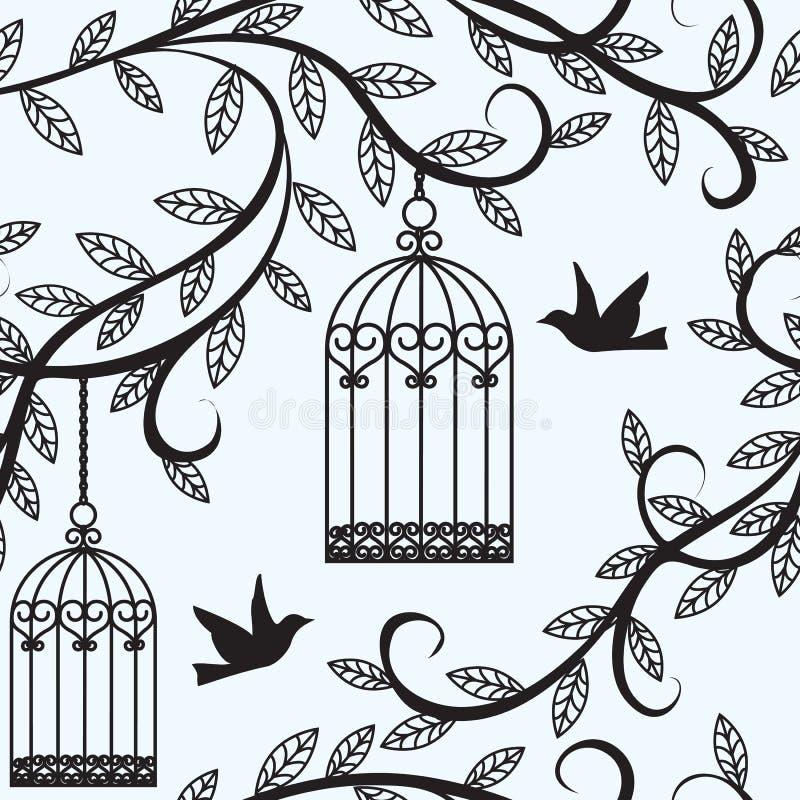 鸟飞行和笼子 向量例证