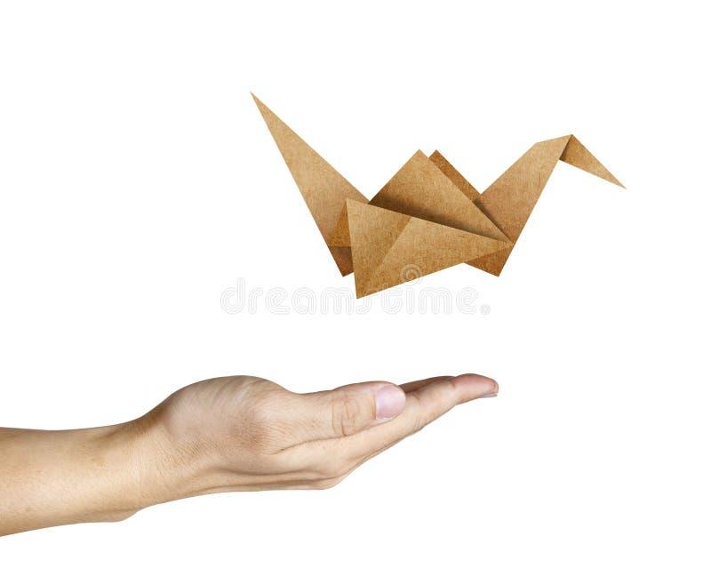 鸟飞行现有量人origami 向量例证