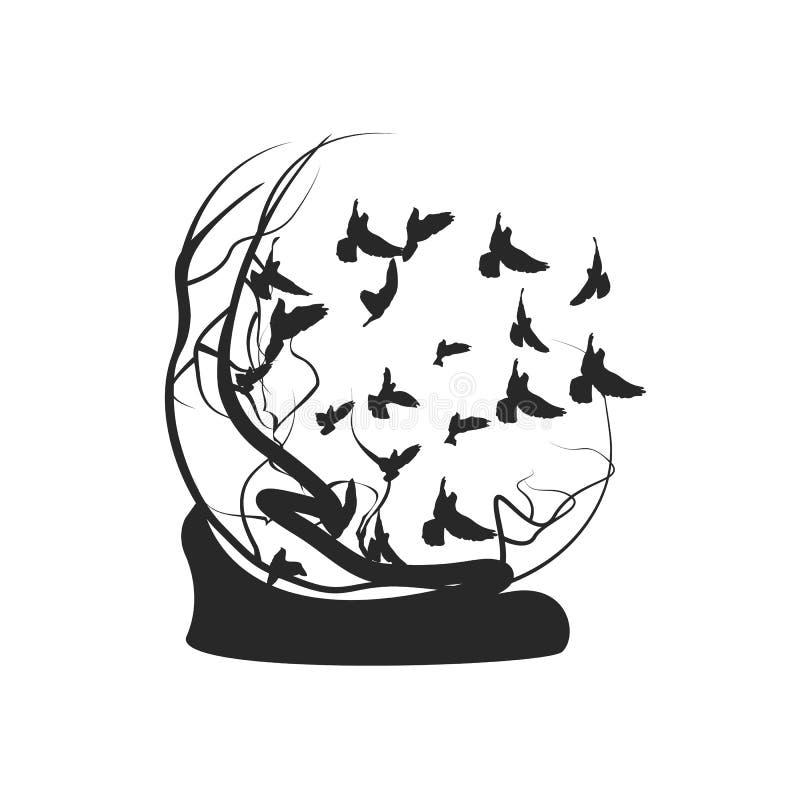 鸟飞行远离树 黑白图画 皇族释放例证