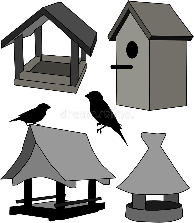 鸟馈电线房子 皇族释放例证