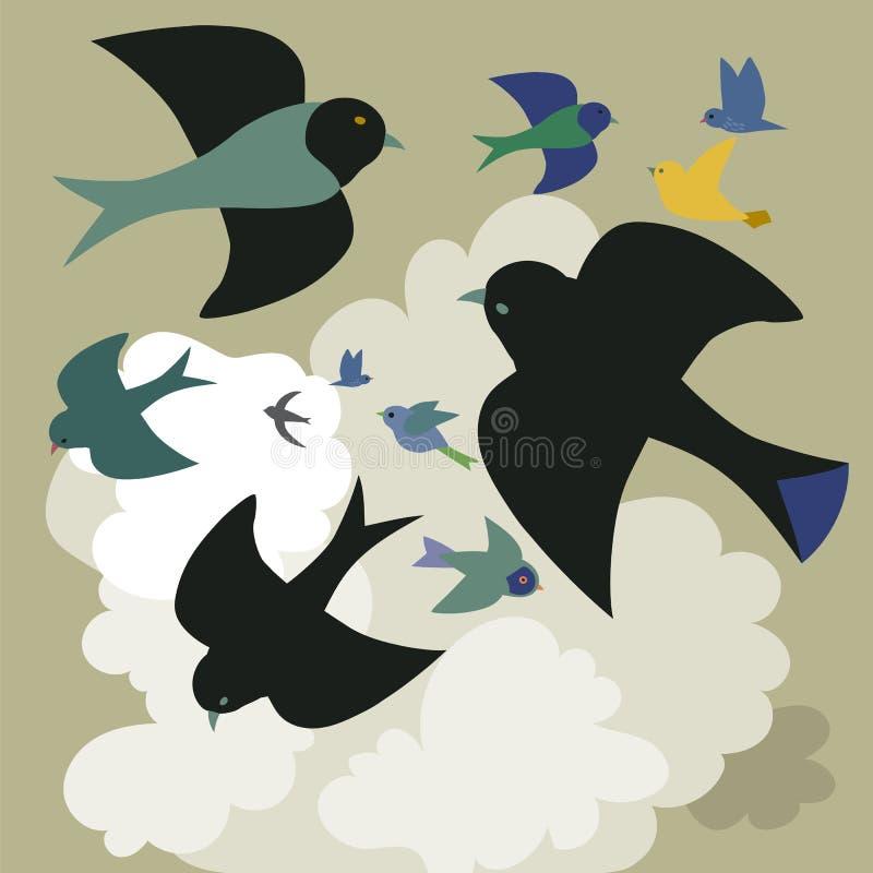 鸟高昂在云彩中 库存例证