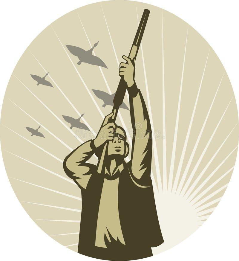 鸟鸭子比赛猎人射击 库存例证