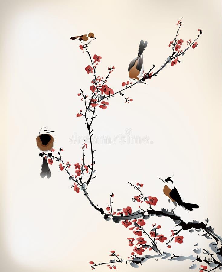 鸟绘画 向量例证