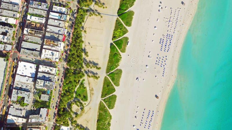 鸟` s眼睛视图迈阿密海滩 免版税库存照片