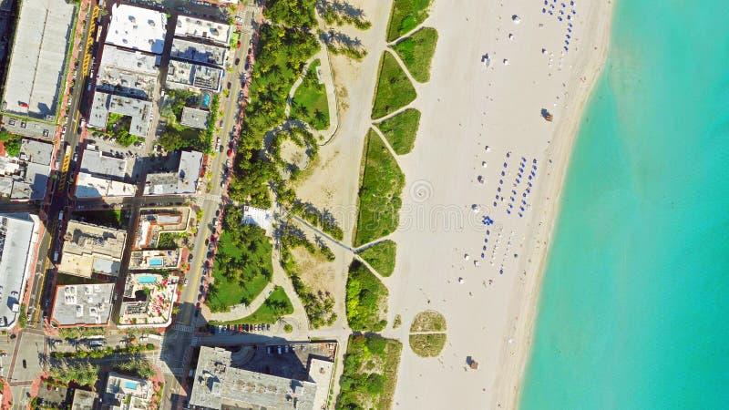 鸟` s眼睛视图迈阿密海滩 库存图片
