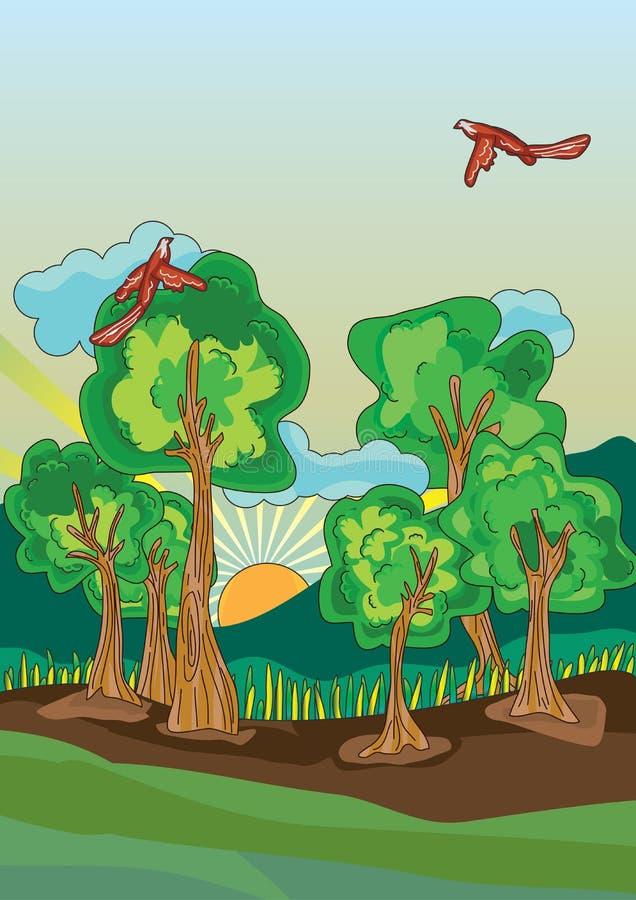 鸟eps横向模板结构树 皇族释放例证