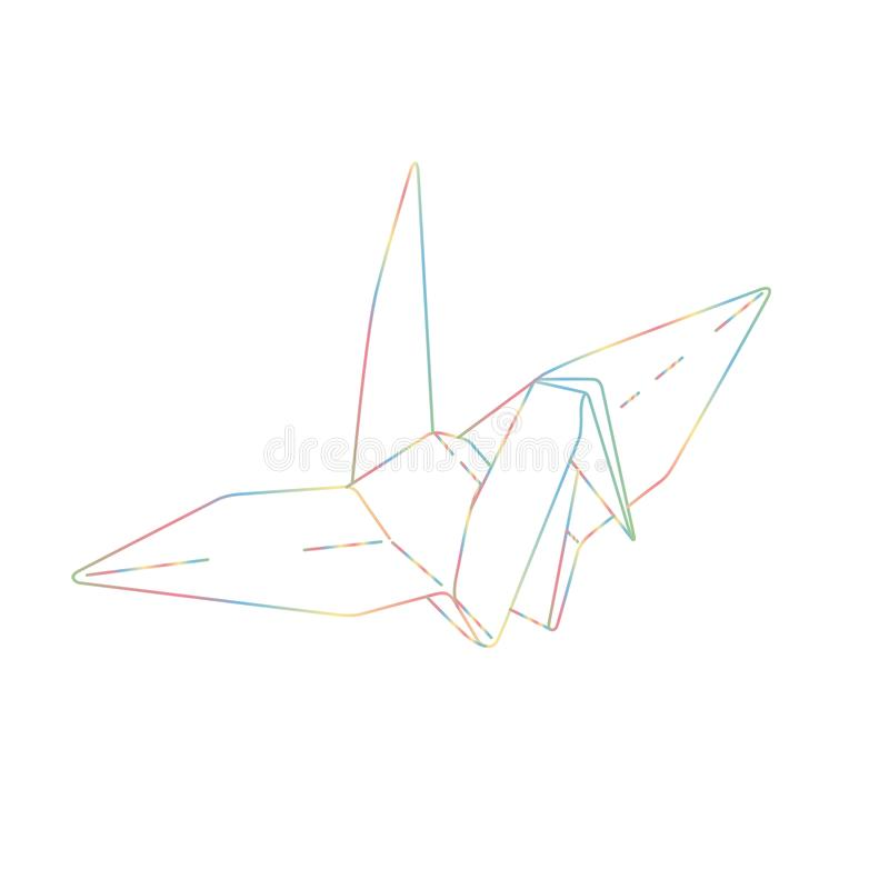 鸟Origami纸 简单的线例证传染媒介 纹身花刺desi 向量例证