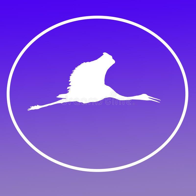鸟Sarus起重机鹳商标横幅背景影像 库存例证