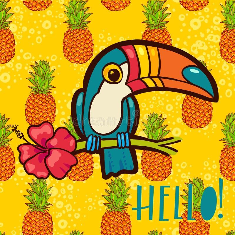 鸟Toucan,热带木槿在动画片样式开花 词组你好 向量例证
