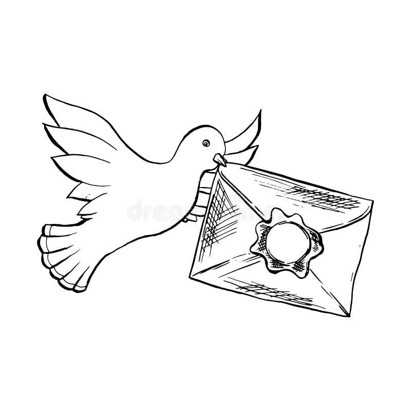 鸠与信封的鸟飞行在剪影样式 概述或等高图画图片