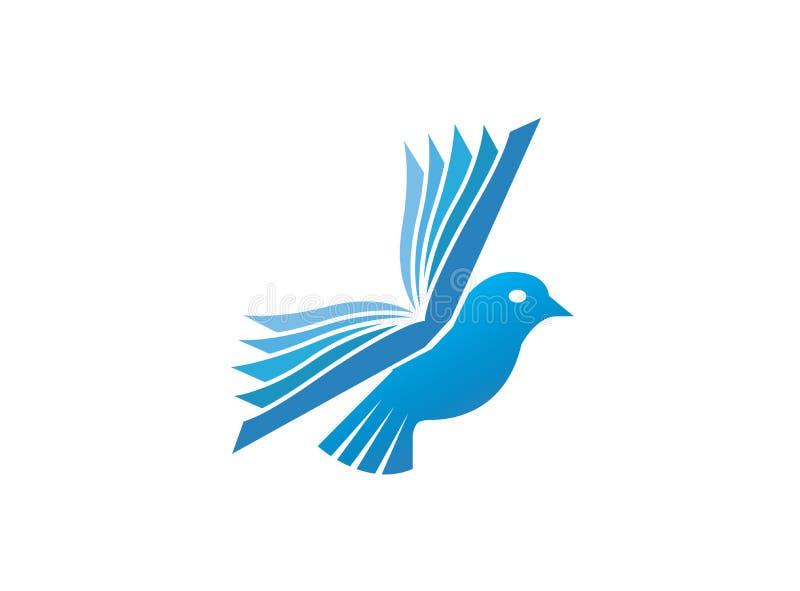 鸠与翼的鸟飞行为商标设计例证,教育象预定,读和学会标志 向量例证