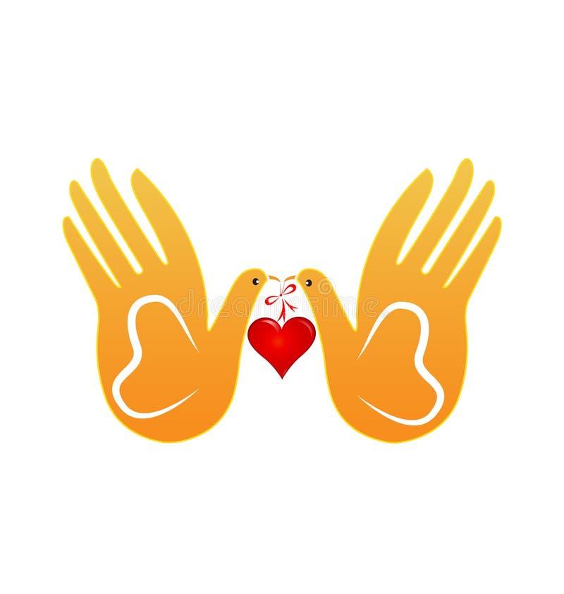鸠和手抽象爱概念象 向量例证