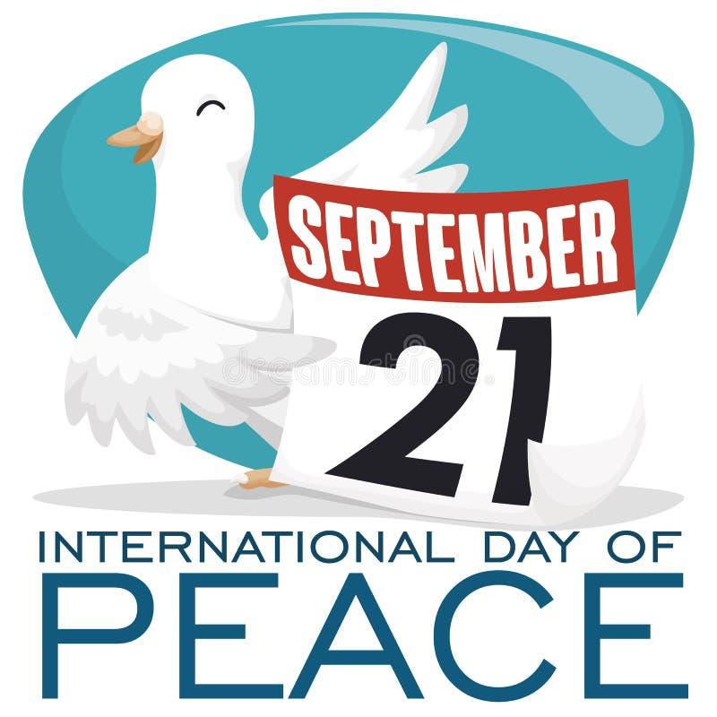 鸠和日历与提示日期的天和平,传染媒介例证 向量例证