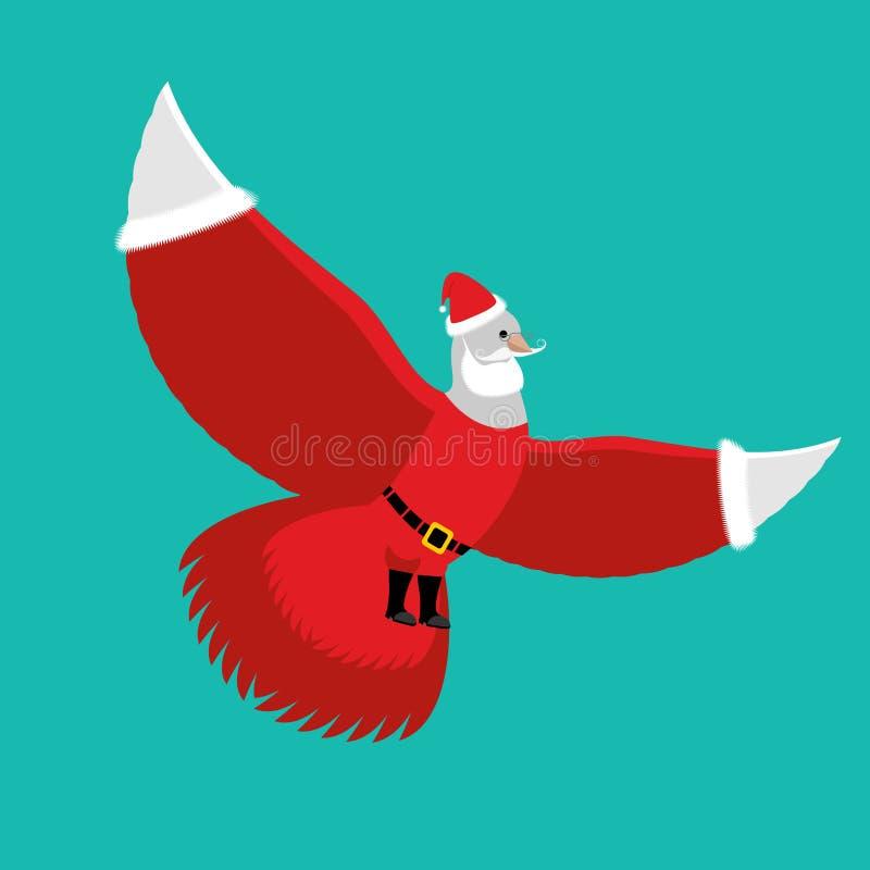 鸠圣诞老人 在红色服装和盖帽的白色鸽子 库存例证