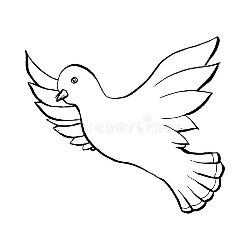 鸠在剪影样式的飞鸟 概述或等高图画 手拉的向量例证 皇族释放例证