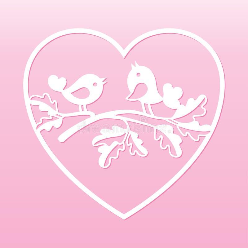 鸠夫妇在橡木的分支在心脏里面 激光切口模板 向量例证