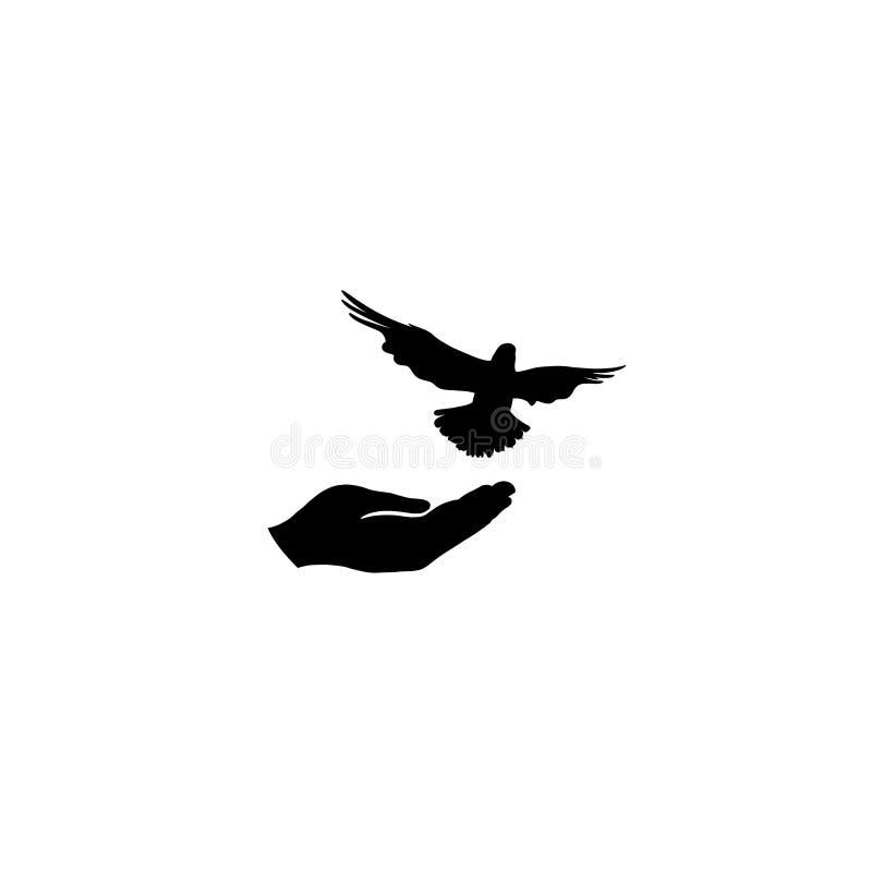 鸠鸟释放用手 flighing的鸽子 和平标志 自由 向量例证