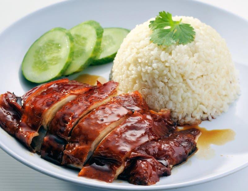 鸡中国米调味汁大豆样式 免版税库存照片
