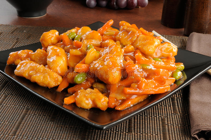鸡中国食物桔子 免版税库存照片