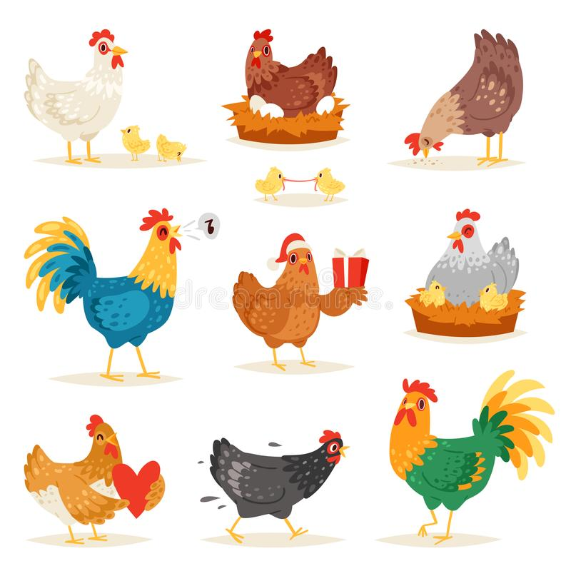 鸡传染媒介动画片小鸡字符母鸡和雄鸡爱上婴孩鸡或母鸡坐鸡蛋在鸡笼 皇族释放例证