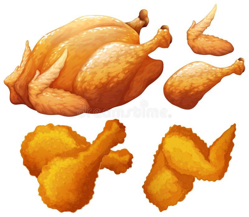 鸡做的设置食物 皇族释放例证