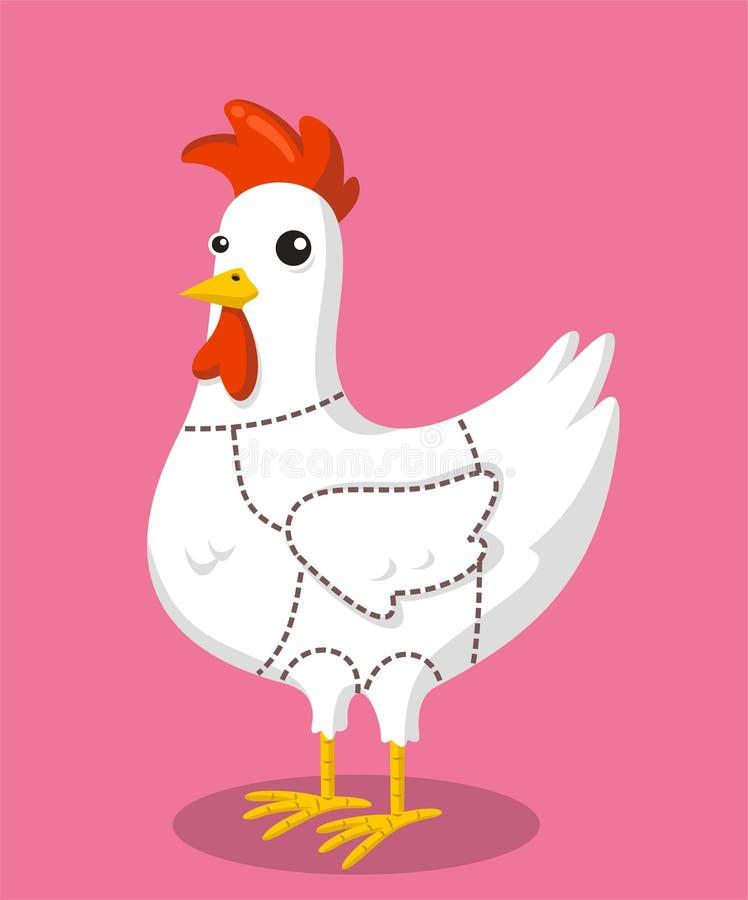 鸡削减动画片 皇族释放例证