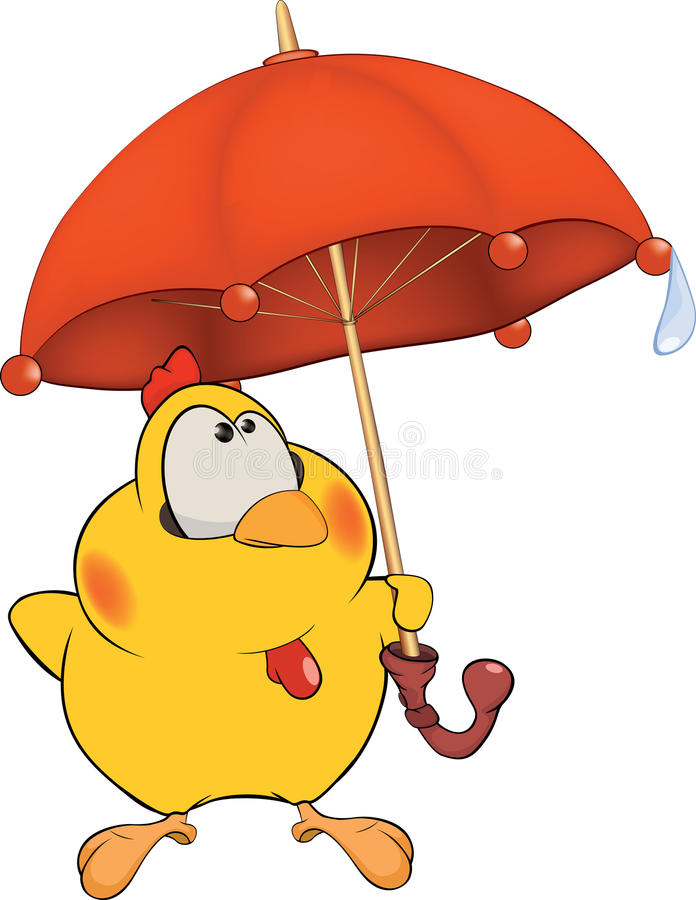 鸡和伞动画片 库存例证