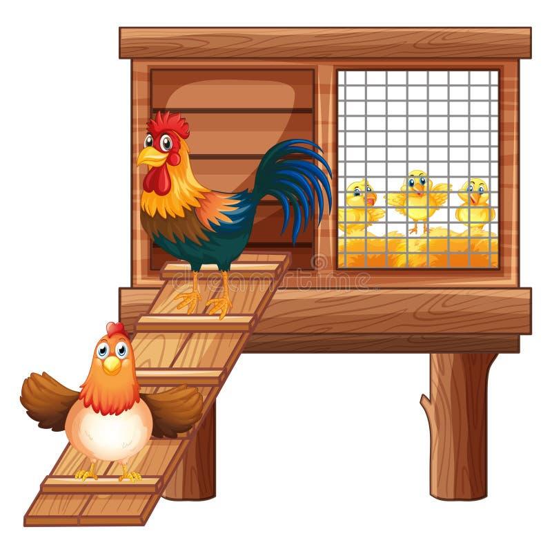 鸡和小鸡在小屋 皇族释放例证