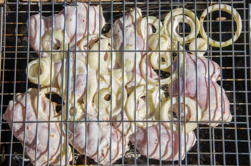 鸡和葱在格栅 免版税库存图片