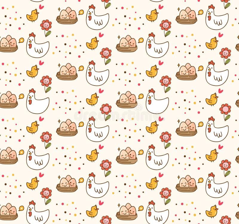 鸡和蛋kawaii背景 库存例证