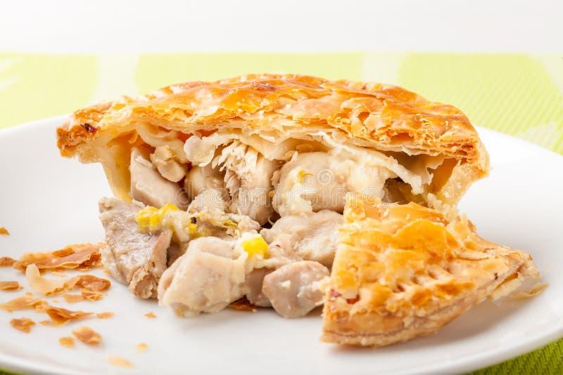 鸡和韭葱饼 免版税库存照片