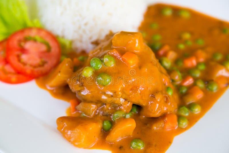鸡咖喱供食用米 免版税图库摄影