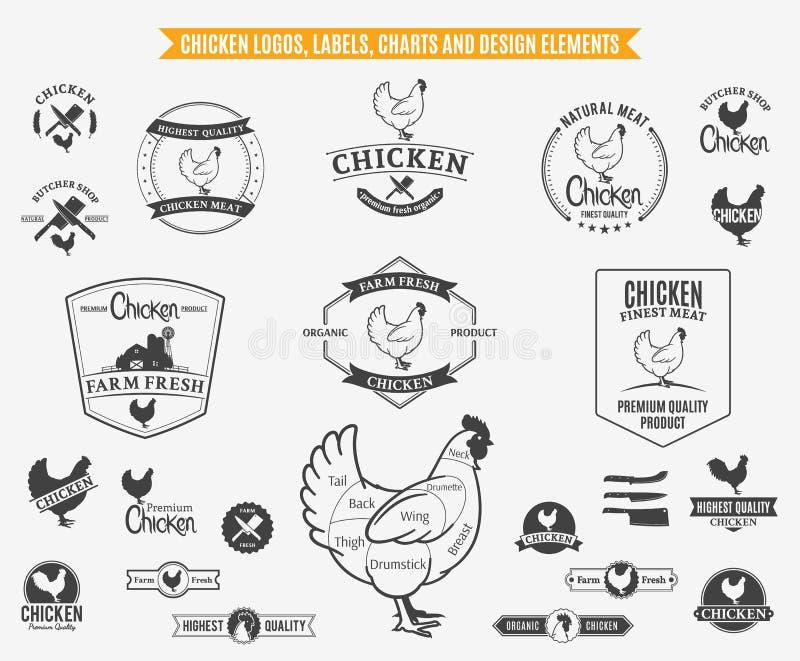 鸡商标、标签、图和设计元素 库存例证