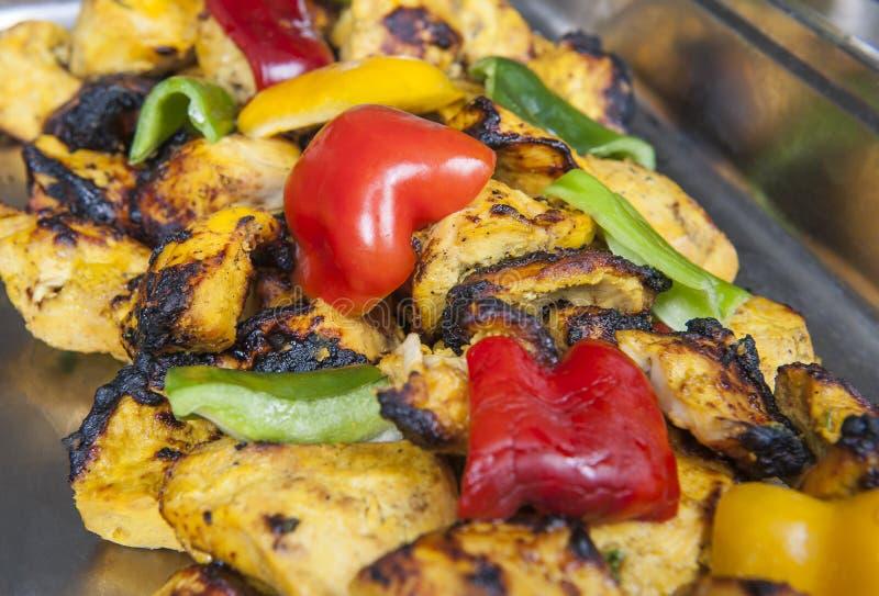 鸡在印地安餐馆的reshmi kebab 免版税库存图片