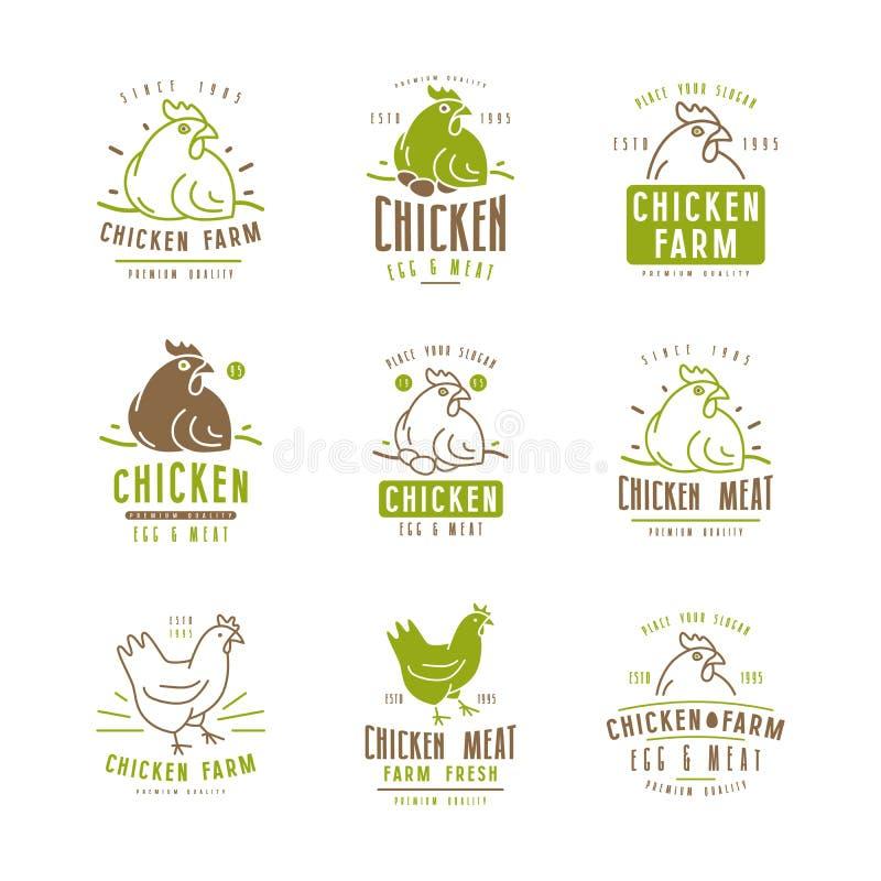 养鸡场标签和象征 库存例证