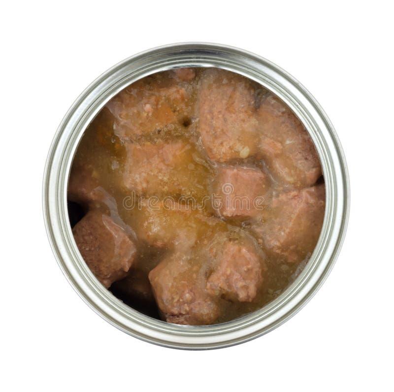 鸡大块在小汤的狗食 库存照片