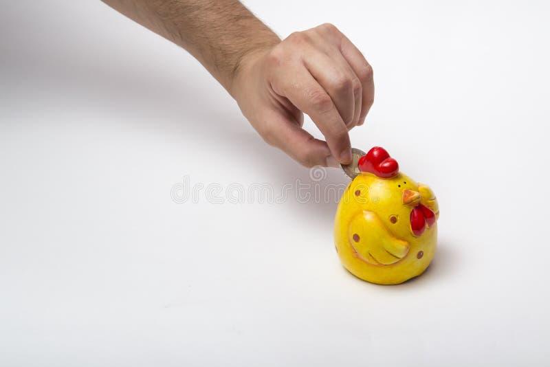 鸡存钱罐 免版税库存照片