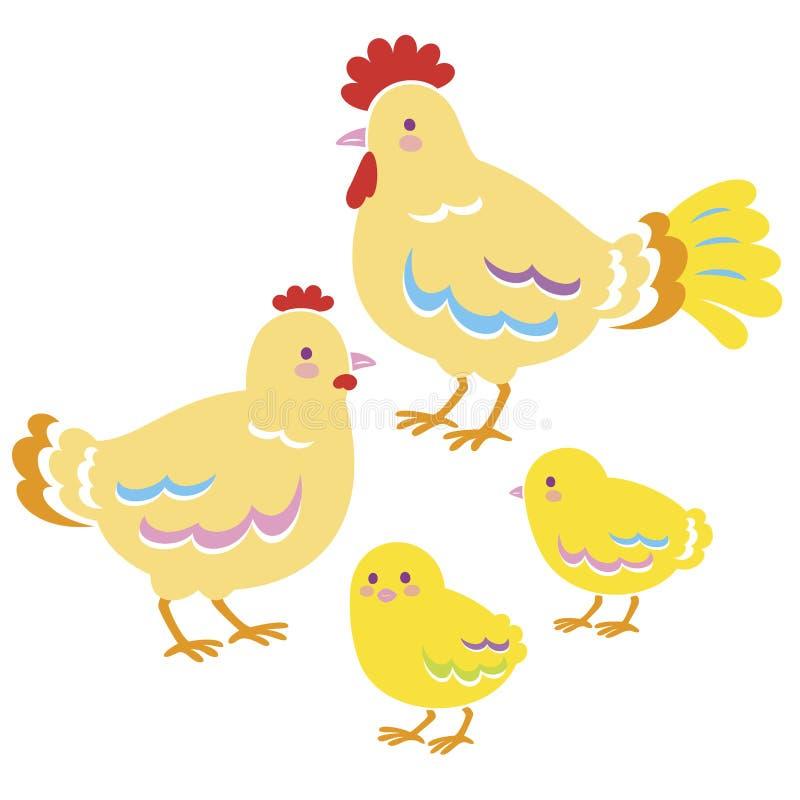 鸡家庭  向量例证