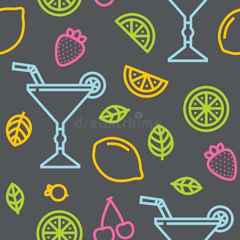 鸡尾酒、果子和莓果无缝的灰色传染媒介样式 库存例证