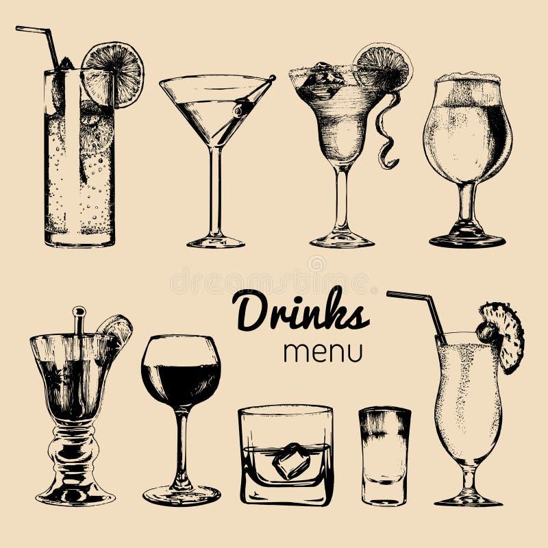 鸡尾酒、饮料和玻璃酒吧的,餐馆,咖啡馆菜单 被设置的手拉的酒精饮料传染媒介例证 皇族释放例证