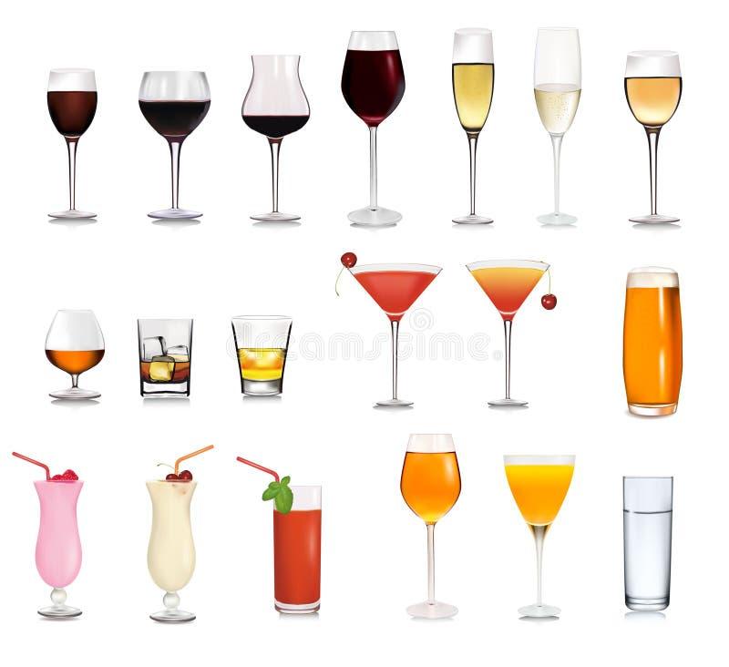 鸡尾酒不同的饮料设置了 向量例证