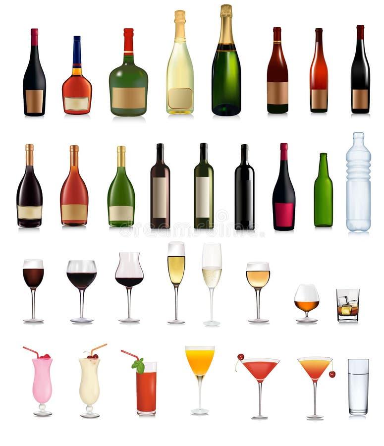 鸡尾酒不同的饮料设置了vers 向量例证