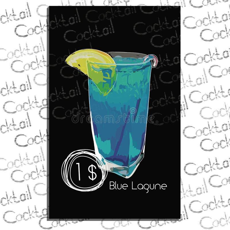 鸡尾酒与价格的蓝色Lagune在粉笔板 鸡尾酒菜单的模板元素 免版税库存图片
