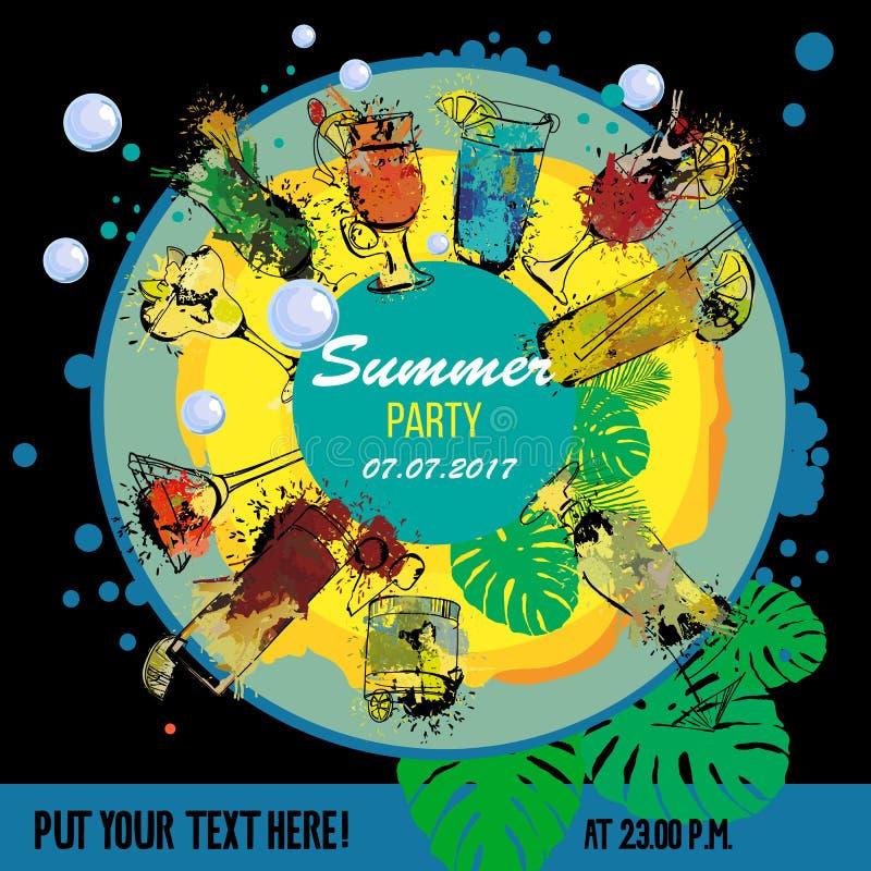 鸡尾酒会海报设计师的例证 酒吧菜单的模板 酒精,夏天饮料 浪花,斑点水彩 库存例证