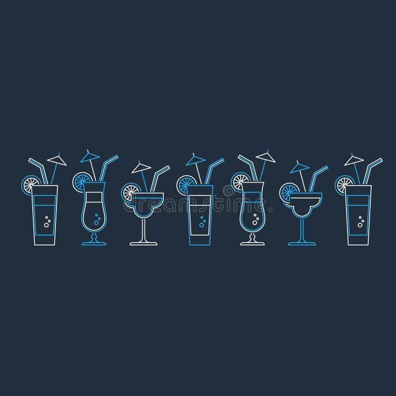 鸡尾酒会,酒精饮料 库存例证