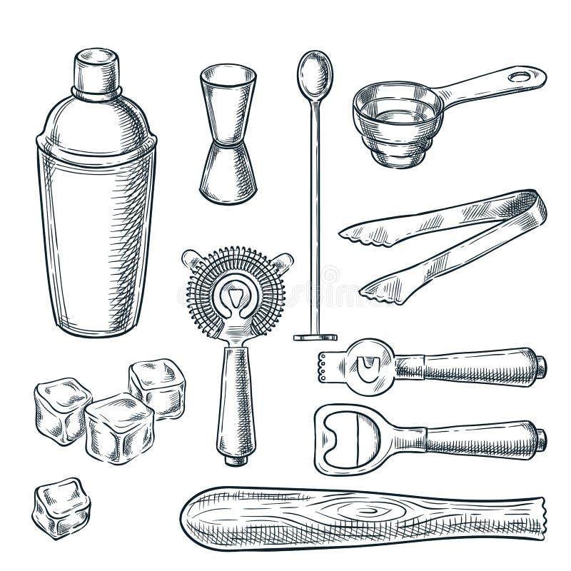 鸡尾酒吧工具和设备剪影例证 手拉的象和设计元素侍酒者工作的 库存例证